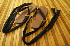 "Gladiator Thong Sandals Black Tie Lace Wrap Flats 10"" Insole Summer Beach Shoes"
