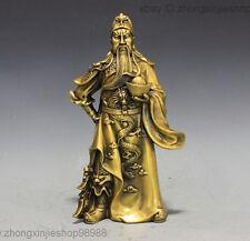 China Pure Copper Brass Dragon Sword  Yuan Bao Guan Gong Guan Yu Buddha Statue