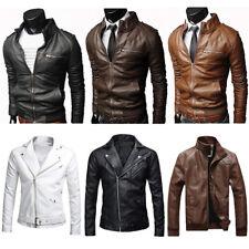 Herren PU Leder-jacke Freizeit Lederjacke Bikerjacke Übergangsjacke Streetwear