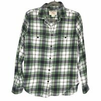 Filson Scout Shirt Flannel Plaid Button Down Chest Pockets Green White Size M