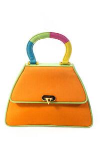Valentino Garavani Vintage Mini Canvas Top Handle Clutch Handbag Orange