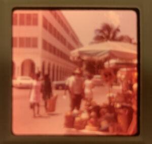 1969 Kodacolor Photo Slide Straw Hat Street Vendor Bahama Islands Bahamas Kodak