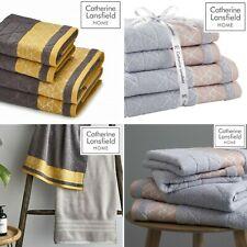 Catherine Lansfield Linear Diamond 4 Piece 100% Cotton Towel Bundle Collection