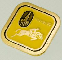 Olympic Games Moscow 80 Moskva Badge Soviet Pin Enamel USSR show jumping horse