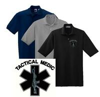 Tactical Medic Weapon Embroidered Polo Shirt M-5X EMS Paramedic Police SWAT