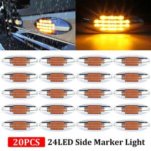 20x Amber Thin Side Marker Lights Clearance 24 LED Chrome for Freightliner 12V