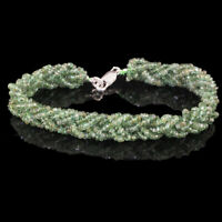 "60.55 Cts Natural Zambian Emerald Bracelet 7.50"" Facetted Beads 925 Silver Clasp"