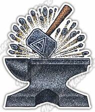 "Mason Freemason Anvil Hammer Eye Providence Car Bumper Vinyl Sticker Decal 4""X5"""