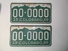 1968 Colorado SAMPLE ZERO License Plates Auto Tag PAIR YOM Gas Oil Sign Old Car