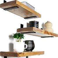 Rustic Wood Floating Shelves - Wooden 3 Tier Wall Shelf - Natural Pine, Oil