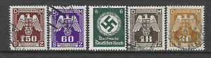 GERMANY HITLER ERA SWASTIKA 5 Different Stamps USED (No 2)