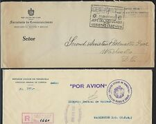 VENEZUELA 1945 SIX OFFICIAL MINISTRY & COMMUNICATION REGISTERED FREE FRANK COVER