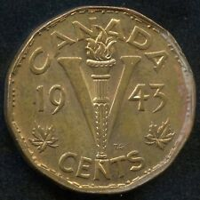 """1943 Canada Tombac """"Victory"""" 5 Cent Coin"""
