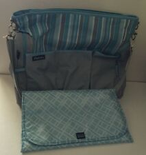 Gray Blue Striped Diaper Bag Adjustable Strap Changing Pad NEW