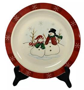 "Royal Seasons Christmas 10 1/4"" Dinner Plate Stoneware Snowmen-Snowflake Red Rim"