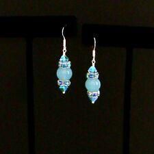 """""""IAJ"""" Blue CHALCEDONY w/ SWAROVSKI Crystal Rondelle STERLING SILVER Earrings"""