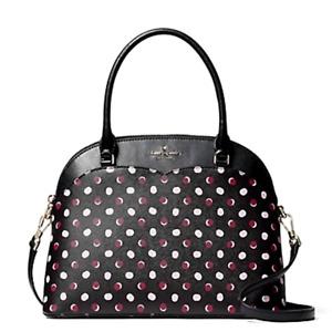 New Kate Spade Payton Fiesta Dots Dome Medium Satchel Black multi