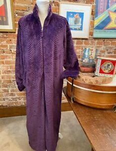 Stan Herman Purple Petite S Silky Plush Trimmed Wave Long Zip Robe New