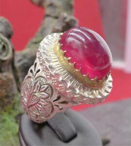 Prächtiger synthetischer Rubin Herren Ring in Silber