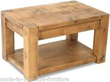 NEW SOLID WOOD CHUNKY STYLE COFFEE CONSOLE TABLE RUSTIC PLANK PINE FURNITURE
