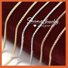 9K 9CT Gold Filled SILVER ROSE GOLD 16-24'' Box Chain Necklace for Pendant Charm