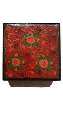 HANDMADE ARTS & CRAFTS HAND PAINTED AND DECORATED WOODEN BOX ROSES