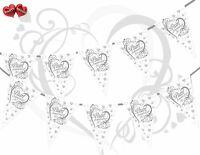 30th Pearl Anniversary Themed Hearts Silver Bunting Banner 15 flags Very Luxury
