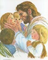 """Catholic print picture  -  JESUS WITH CHILDREN  -   8"""" x 10"""" ready to be framed"""