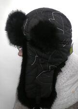 Señora tschapka mcburn negro conejos fell talla 56 invierno gorro gorra fell caliente
