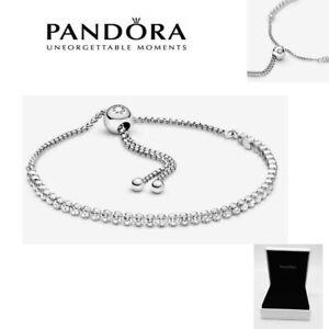 Pandora Genuine Silver&Rose Gold Sparkling Slider Tennis Bracelet with Gift Box!