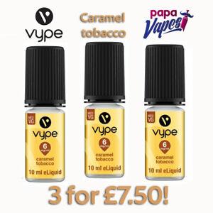 VYPE E-LIQUID 3 for £7.50!   CARAMEL TOBACCO   VAPE JUICE   3MG 6MG 18MG   10ML