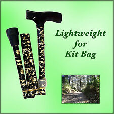 WALKING STICK FOLDING METAL LIGHT ADJUSTABLE MENS CAMOUFLAGE DESIGN