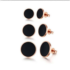 Womens Black & Gold Round Studded Earings Fashion Ear Studs Jewellery Fashion UK