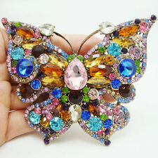 Classic Multi-color Butterfly Pendant Gold-tone Brooch Pin Rhinestone Crystal