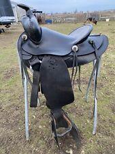 """Antique /vintage/used 15.5"""" J.C. Higgins blk leather Western saddle w/tapaderos"""