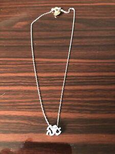 Swarovski Signed Silver Chain Toggle Necklace Clear Rhinestone Pendant
