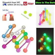 14g Flexible Acrylic Luminous Glow In The Dark Tongue Nipple Ring Bar Barbell