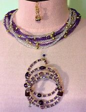 Necklace-Earring-Bracelet Set Purple & Clear Crystal and Gold Plated Beads Women