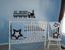 ALL ABOARD TRAIN  BABY KIDS VINYL WALL  LETTERING DECAL HOME DECOR  ART CHILDREN