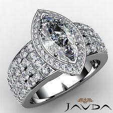 4 Row Halo Pave Marquise Diamond Engagement Ring GIA I VS2 14k White Gold 2.6 ct