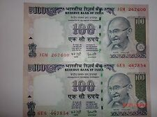 India Paper Money- 2 Old 'Mg' Notes- Rs.100/- Year '2006 'One Signatory# E24iii