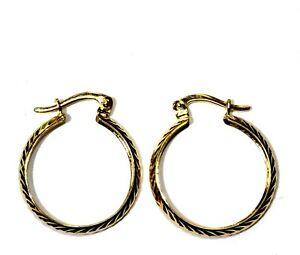 14k yellow gold diamond cut hoop earrings 1.9g estate vintage