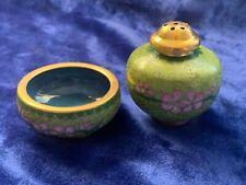 Vintage Chinese Cloisonné Salt Cellar & Pepper Shaker - Green & Pink on Lt Green