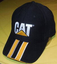 New CAT Dozer Racing Stripe Baseball Cap Caterpillar Black/Gold Construction Hat