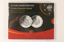 """25 Euro BRD 2015 """" 25 Jahre Deutsche Einheit """" Silber PP Proof -- G"""