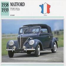 1938-1939 MATFORD TYPE F92A Classic Car Photograph / Information Maxi Card