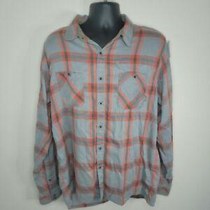 Simms Orange and Gray Plaid Flannel Shirt Size Men's XL