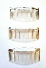 Small CLEAR Side Combs Hair Slides Making Wedding Prom Fascinators PACK3 Made UK