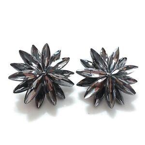 Black Flower Earrings for pierced ears A35