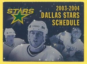 Dallas Stars 2003-04 NHL Schedule – Turco Photo – Dr. Pepper